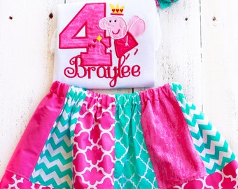 Peppa pig inspired Birthday Outfit Personalized pink and blue