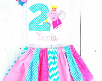 Pig inspired Cake Birthday Outfit Personalized blue and pink