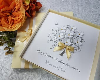 golden wedding card etsy