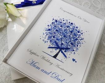 7c7f84813 45th 65th Sapphire Wedding Anniversary Card Handmade Personalised Wife  Husband Daughter Son Parents Grandparents Friends box keepsake aunt