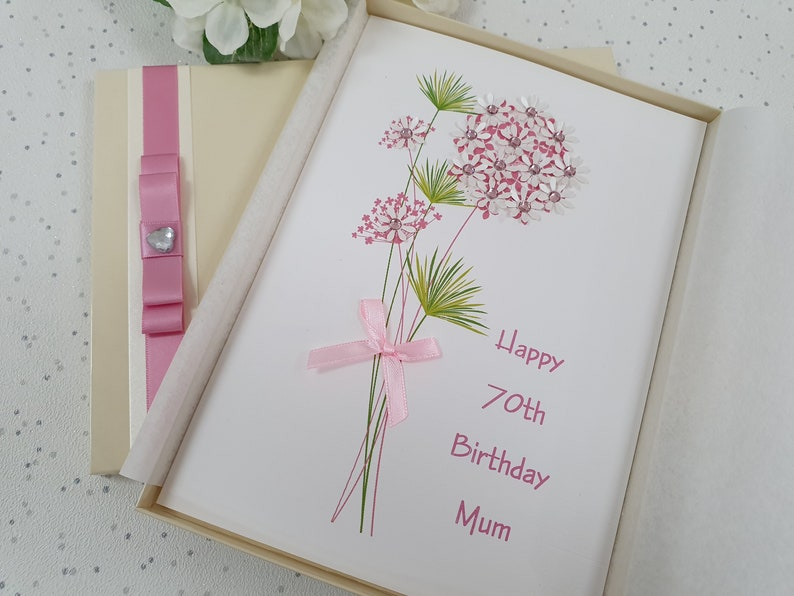 Luxury Personalised Birthday Card Mum Mother Grandmother Wife 60th 80th 50th box