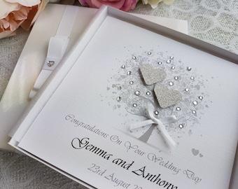 Personalised Wedding Congratulations Card Handmade Boxed or Envelope Keepsake silver glitter ivory white box