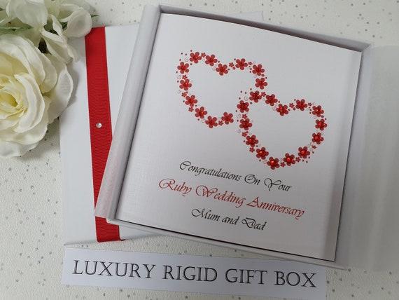 Luxury Personalised Handmade Ruby//40th Wedding Anniversary Card Sister Friends