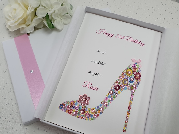 Luxury Personalised Birthday Card Daughter Granddaughter 1st 21st 16th 18th box