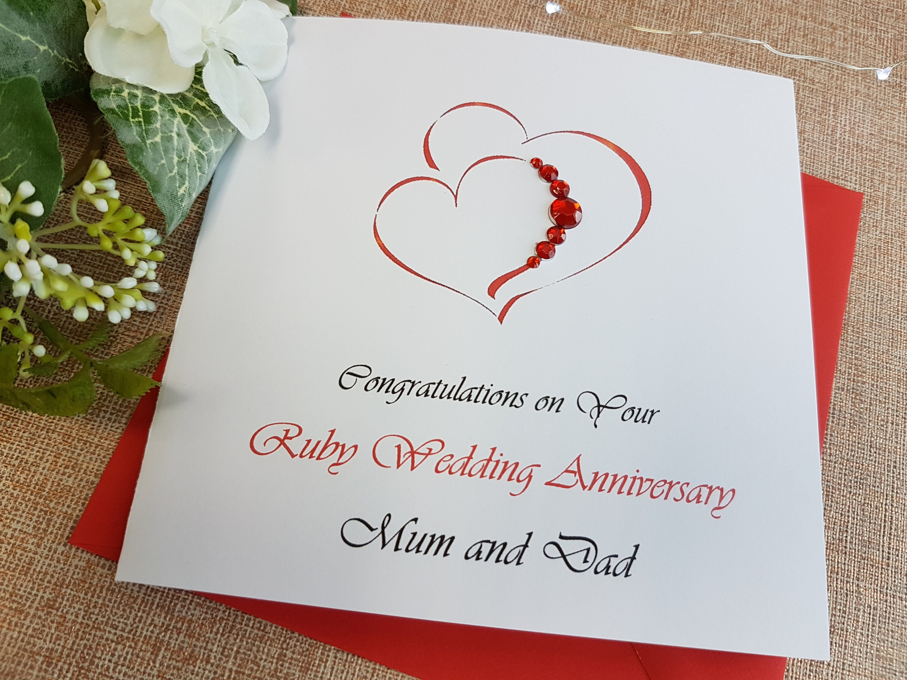 personalised 40th Ruby wedding anniversary gift for Grandparents handmade heart