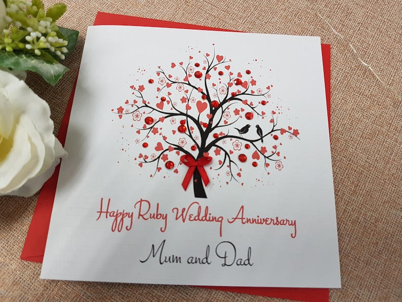 15th Wedding Anniversary.Ruby 40th 15th Wedding Anniversary Card Handmade Personalised Parents Grandparents Friends Any Names