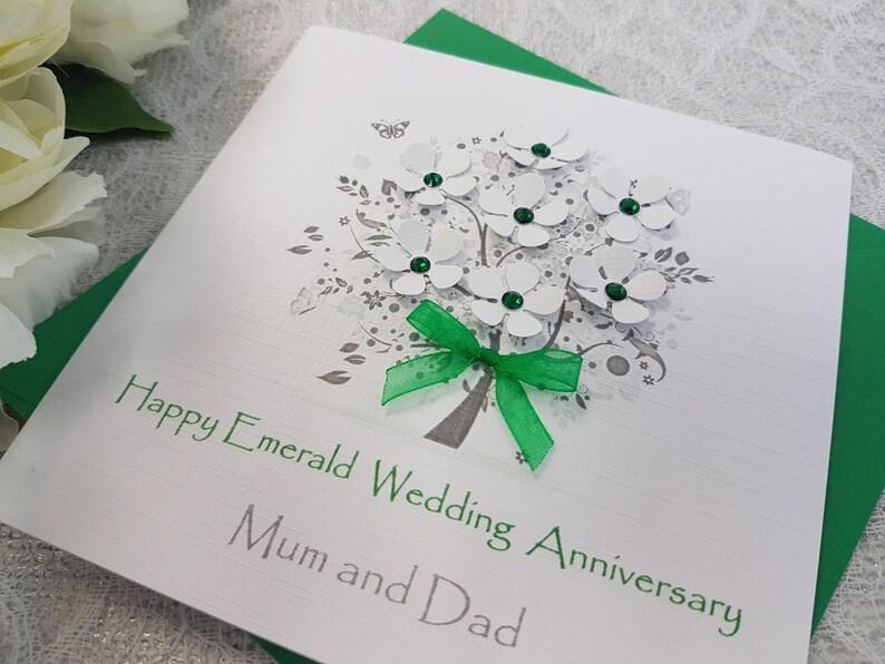 Emerald 55th 20th Wedding Anniversary Card Handmade Personalised wife husband