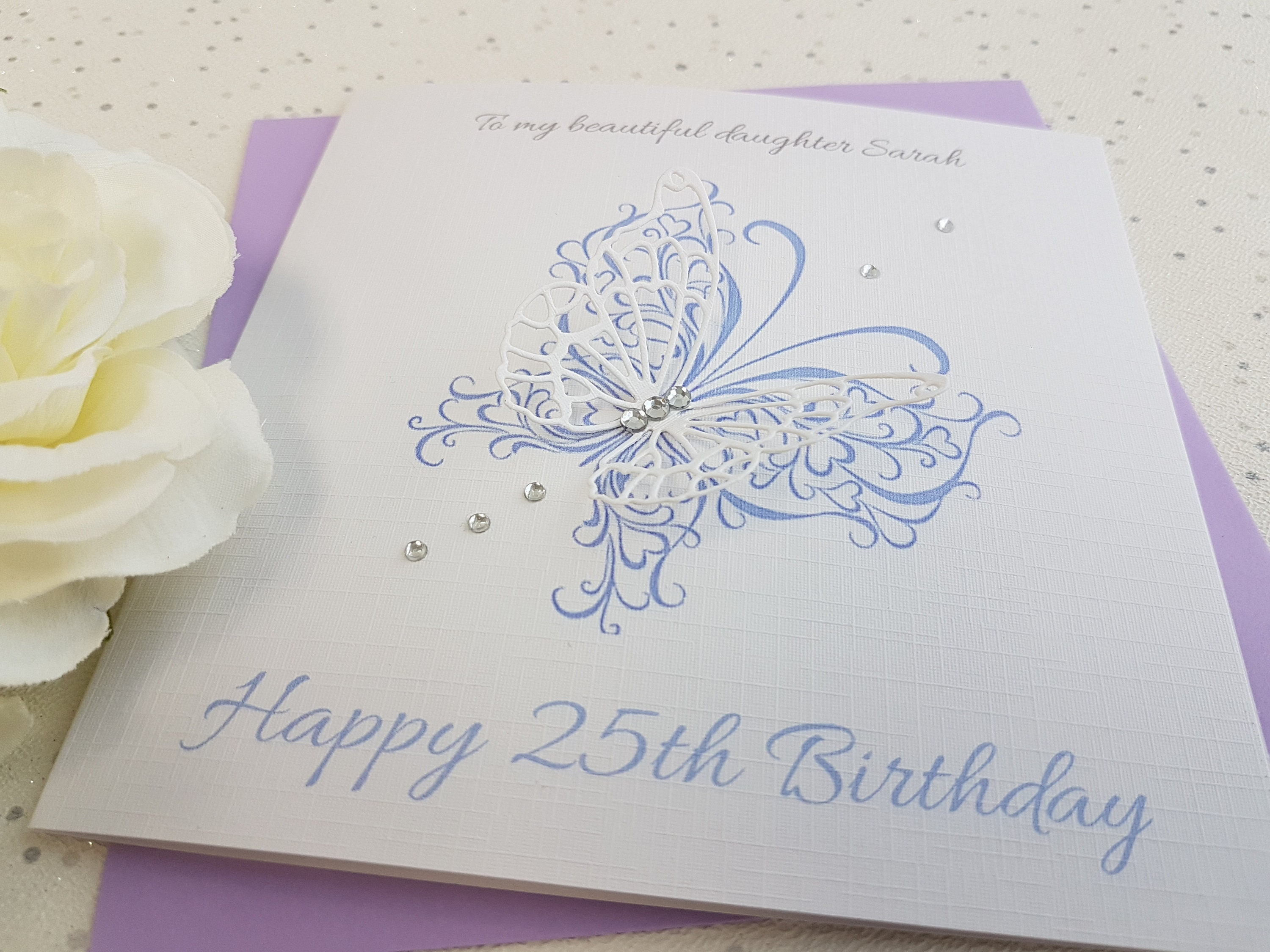 Birthday Card Handmade Personalised Keepsake 3D Butterfly First 1st 16th  18th 20th 21st 30th 40th 50th Niece Daughter Granddaughter Sister