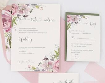 Dusty Rose Wedding Invitations, Mauve Wedding Invitation Set with Romantic Florals, The Katie Suite