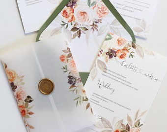Vellum Wrap Wedding Invitations, Fall Wedding Invitation Set in Rust, Blush and Sage Green with Wax Seal - The Charlotte Suite
