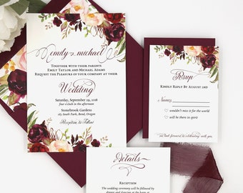 Burgundy Wedding Invitation - Marsala Wedding Invitations Set - Boho Floral Wedding Invite - The Sophia Suite