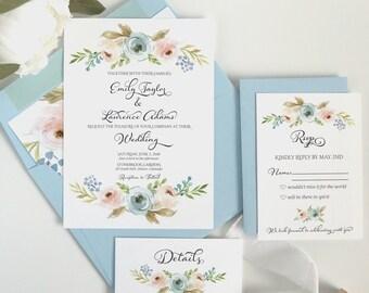 Dusty Blue Wedding Invitations - Floral Wedding Invitation Set - Light Blue and Blush Pink Invite - The Harper Suite