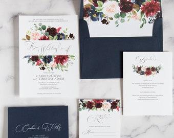 Navy Blue Wedding Invitation - Fall Floral Wedding Invitation Set - The Grace Suite