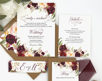 Autumn Wedding Invitations - Rustic Wedding Invitation Set in Burgundy and Blush Floral - The Sophia Collection