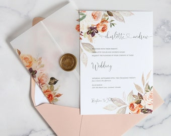 Vellum Wrap Wedding Invitations, Spring Wedding Invitation Set in Blush Pink, Orange and Gold with Wax Seal - The Charlotte Suite