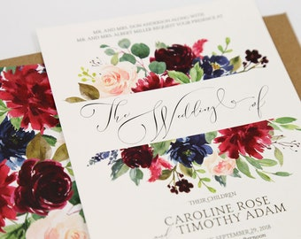 Burgundy & Navy Fall Wedding Invitations - Rustic Wedding Invitation Suite - Delicate Script Collection Sample Set