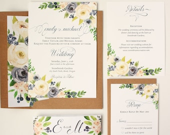 Rustic Wedding Invitations - Navy and White Floral Wedding Invitation Suite - Navy & White Blooms Collection Sample Set