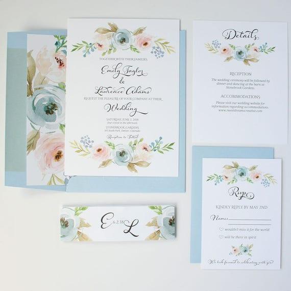dusty blue wedding invitations floral wedding invite suite etsy