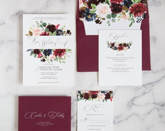 Burgundy Wedding Invitation - Fall Floral Wedding Invitation Set - The Grace Suite