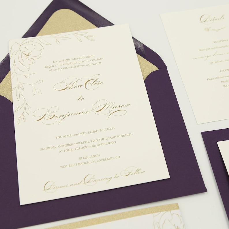 Purple Wedding Invitation for an Elegant Plum and Gold Wedding Thea Plum Gold Glitter Suite Deposit