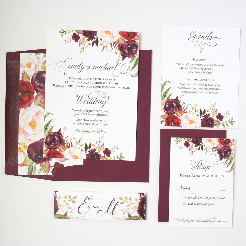 Sample Invitations For Wedding: Marsala Wedding Invitations Burgundy Winter Wedding