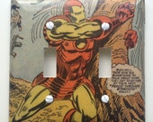 Iron Man Light Switch Cover Switchplate Comic Book Marvel Silver Age Vintage Decoupagej