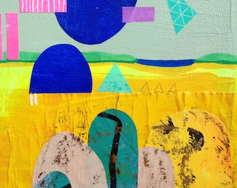 Abstract Landscape Collage Neon/series-Original painting