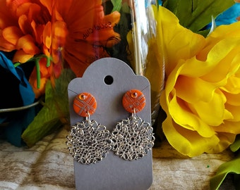 Earrings Polymer clay orange and silver silkscreen circle textured filigree dangle earrings