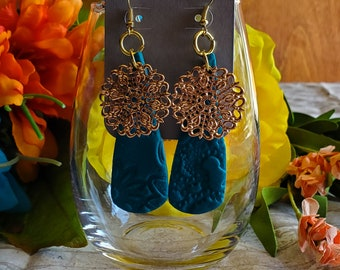 Earrings Polymer clay teal teardrop textured filigree dangle