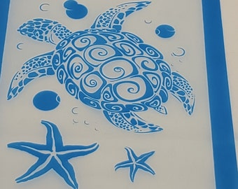 Silkscreen sea turtle for polymer clay,  mixed media and jewelry