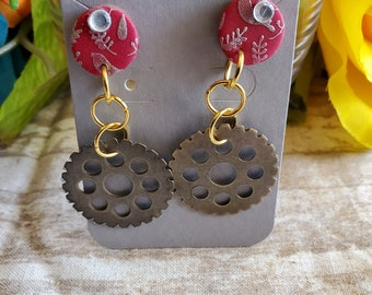 Earrings Polymer clay red silkscreen leaves textured steampunk dangle earrings