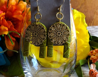 Earrings Polymer clay green horseshoe filigree textured dangle earrings