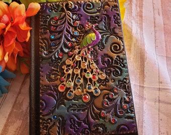 Polymer clay peacock journal sketchbook diary Fantasy custom