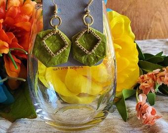 Earrings Polymer clay green hexagon and diamond dangle earrings
