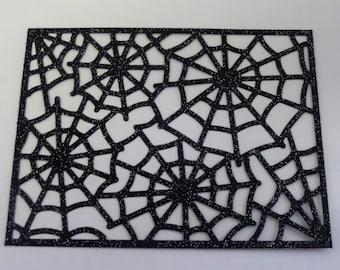 SPIDER WEB Die Cuts • Glittered Spider Webs • Die Cuts • Craft Supplies • Halloween Decor • Scrapbooking • Crafting • The Whiskered Kitten