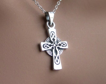 Celtic cross pendant etsy sterling silver celtic cross pendant charm womens jewelry gift religious symbolic christian aloadofball Image collections