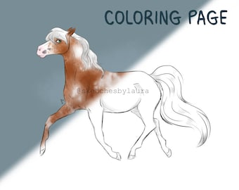 DIGITAL DOWNLOAD - Trotting Horse Coloring Page | Instant Download