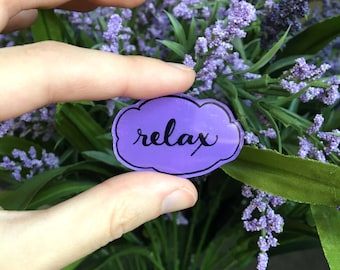 "Handmade Lavender ""Relax"" Lapel Pin | Hard Plastic, Hand Drawn, Hand Painted | Shrink Plastic Pin | Brooch Lapel Pin| Badge"