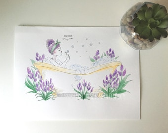 Lavender Bubble Bath | 9x12 Original Watercolor Painting