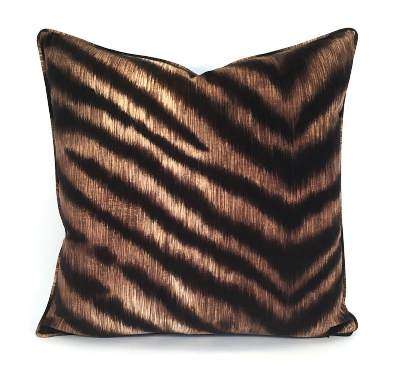 Luxe Velvet Animal Print Pillow Cover in Rich Brown Black /& Cream