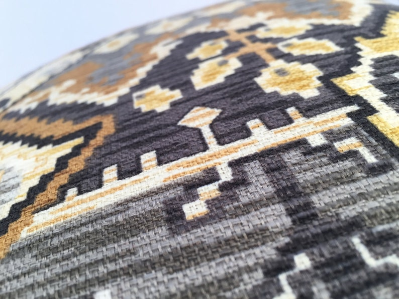 Cream Feature Fabric on BOTH Sides Warm Grays Ethnic Persian Rug-Style Boho Pillow Cover in Rich Golds Black and Ivory