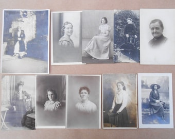 Pack of 10 Women Images - Photos and Postcards - Black + White, Sepia - Art Journals, Collage - Junk Journal Supply - Vintage Photo Pack