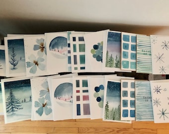 Set of 5 Winter Watercolor Greeting Cards