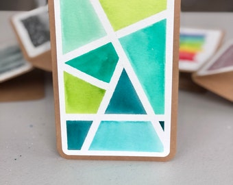 "4x6"" Geometric Watercolor Card"