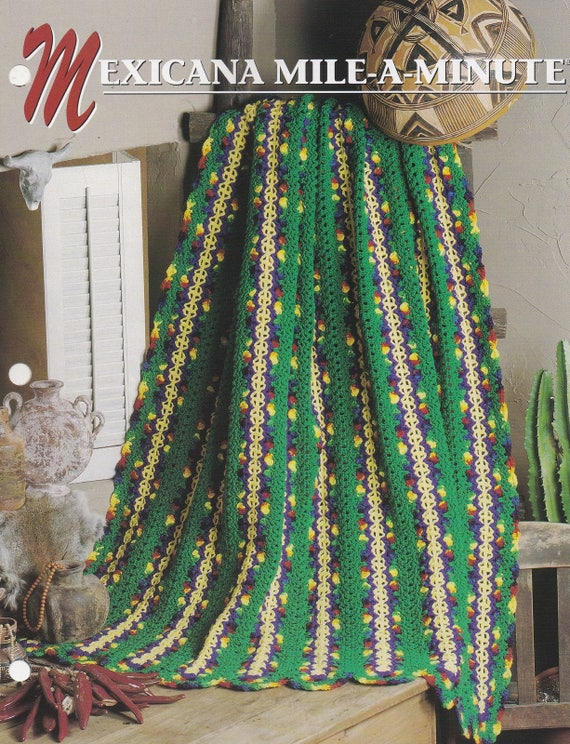Mexicana Mile A Minute Annies Attic Crochet Quilt Etsy