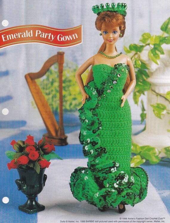 Smaragd-Partei-Kleid Annie Attic Mode Puppe häkeln Muster | Etsy