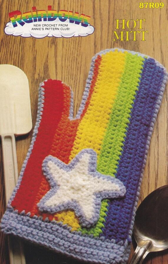 Rainbow Hot Mitt Annies Attic Crochet Pattern Leaflet Etsy