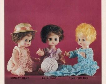 Crochet Dolls, Darice Pattern Leaflet 37009 Doll Dress Sleeper Blanket & More