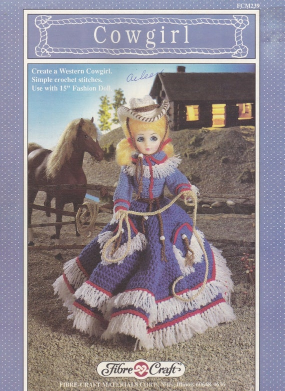 Cowgirl Fibre Craft Crochet Doll Clothes Pattern Booklet Etsy