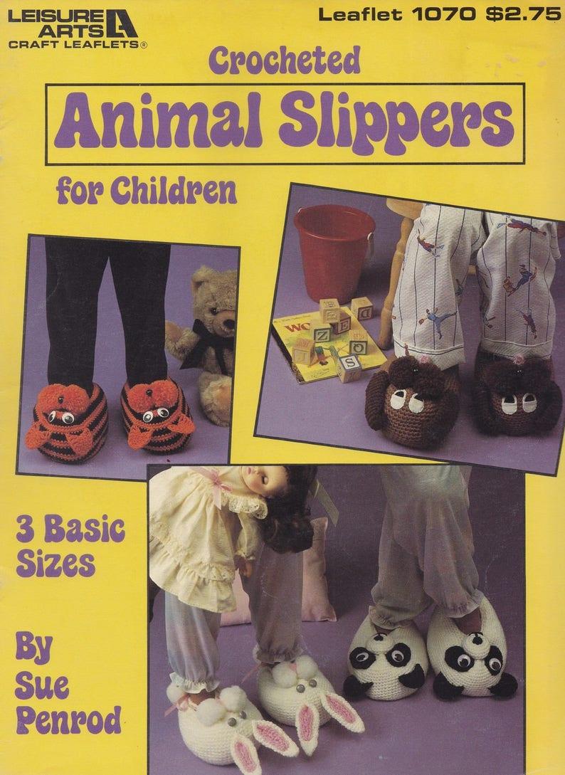 6a115fef4c9 Animal Slippers for Children Leisure Arts Crochet Pattern